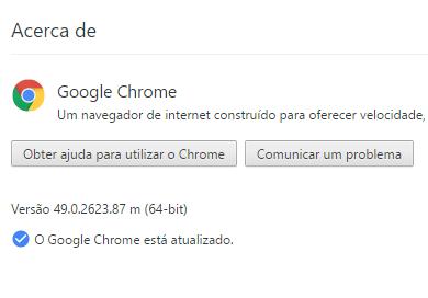 Google Chrome actualização