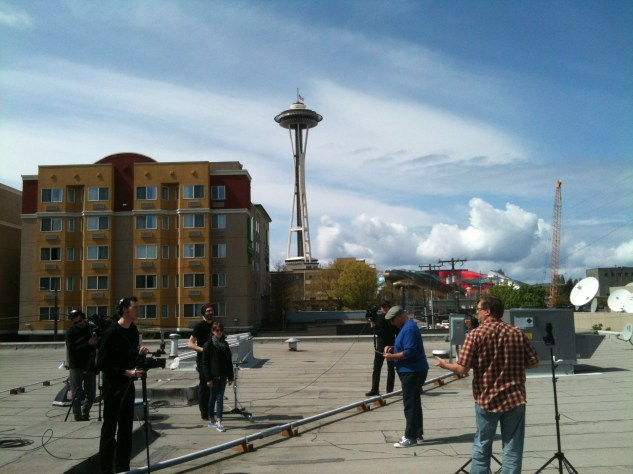 On the roof at CreativeLive filming a segment of Mike Fulton's photography show.
