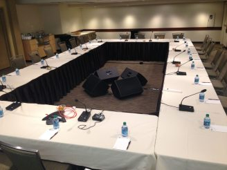 When recording an important board meeting, push-to-talk mics are a great option.