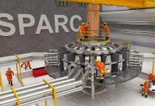 Visualization of the proposed SPARC tokamak experiment. Using high-field magnets built with newly available high-temperature superconductors, this experiment would be the first controlled fusion plasma to produce net energy output.