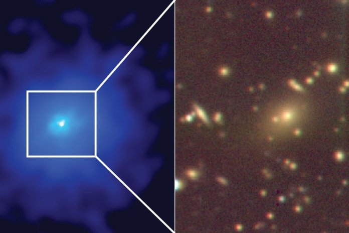An X-ray image (in blue) with a zoom in optical image (gold and brown) showing the central galaxy of a hidden cluster, which harbors a supermassive black hole.