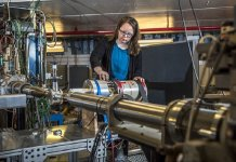 Heather Crawford and her team of researchers are developing a prototype for an ultrahigh-rate high-purity germanium detector that can count 2 to 5 million gamma rays per second while maintaining high resolution. (Credit: Marilyn Chung/Berkeley Lab)