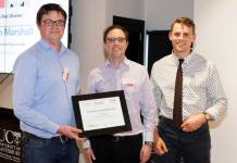 Dr Aaron Marshall (left), and Chemical and Process Engineering Master's student Jonathan Ring (right) receive their Innovation Jumpstart award from KiwiNet CEO James Hutchinson.