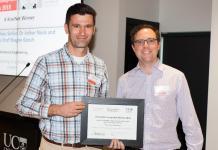 UC Professor Mathieu Sellier receives Innovation Jumpstart award from KiwiNet CEO James Hutchinson.