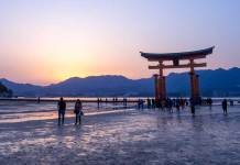 Berkeley researchers collected and studied beach sands from locations near Hiroshima, including Japan's Miyajima Island, home to this torii gate, which at high tide is surrounded by water. The torii and associated Itsukushima Shinto Shrine, near the city of Hiroshima, are popular tourist attractions. (Photo courtesy of Ajay Suresh/Wikimedia Commons)