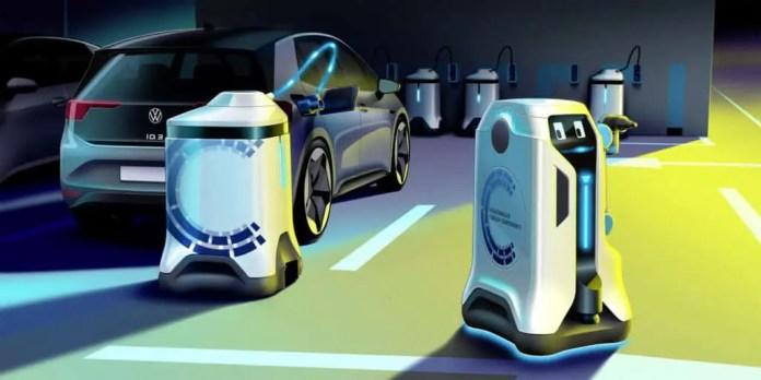 Volkswagen Group Components' mobile charging robot.