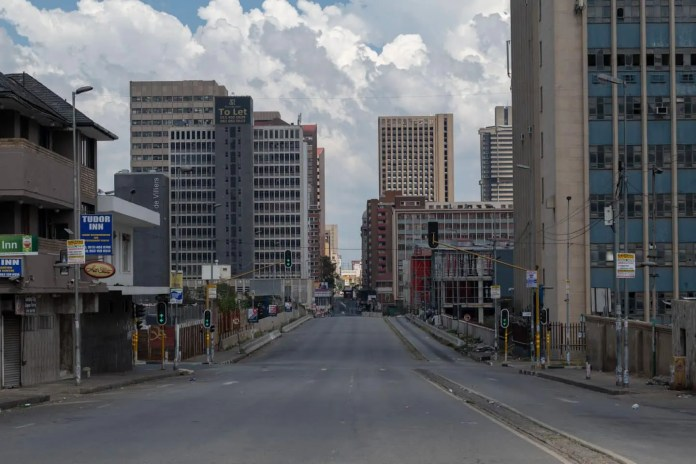 27 March 2020: Empty streets in Johannesburg's central business district. (Photograph by Ihsaan Haffejee