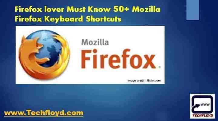 Firefox lover Must Know 50+ Mozilla Firefox Keyboard Shortcuts