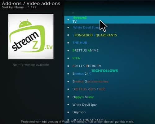 StreamZ TV Kodi Addon