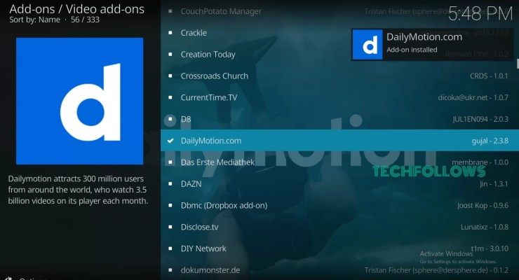 Dailymotion Kodi Addon