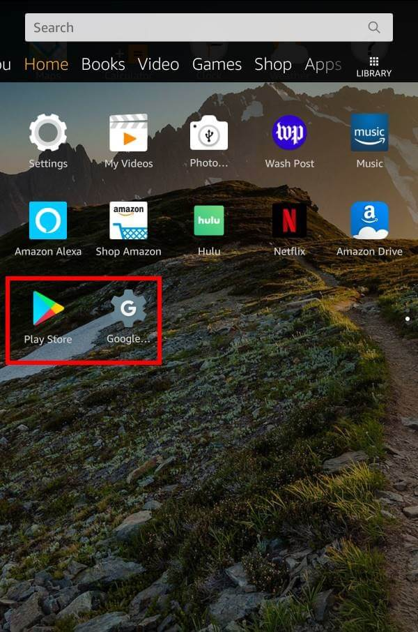 Google Play en Amazon Tableta de fuego