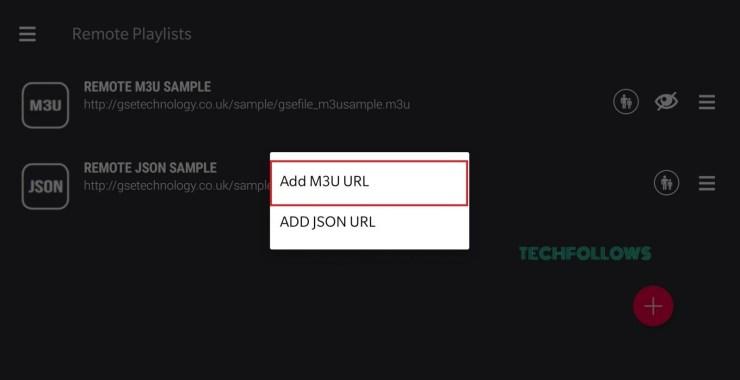 Select Add M3U URL