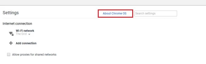 Select About Chrome OS