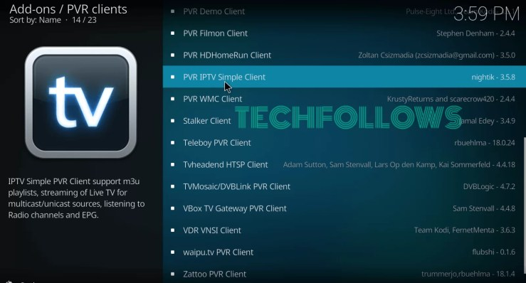 Select PVR IPTV Simple Client