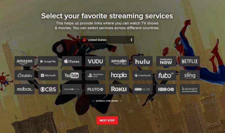 Select your streaming service