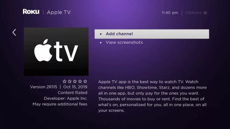 Apple TV on Roku
