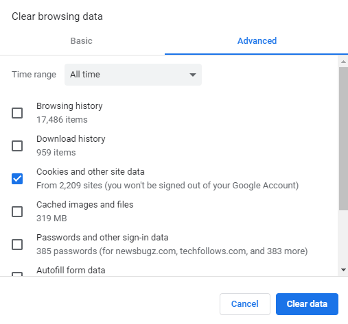 Clear Google Chrome Cache on Computer