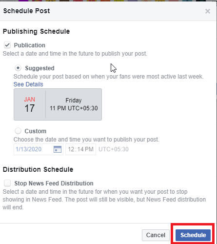 Schedule Posts on Facebook Page