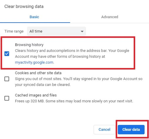 Clear Google Chrome History on Computer