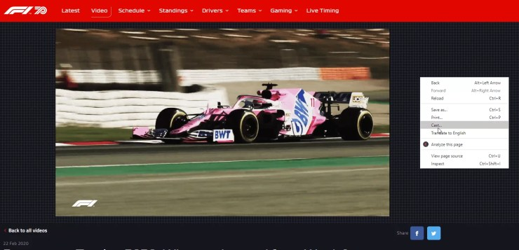 Watch F1 TV With Chromecast