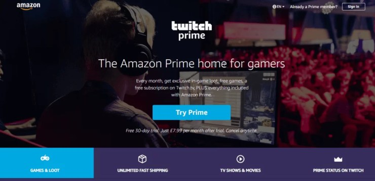 Link Amazon Prime to Twitch