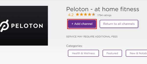 Click Add Channel to install Peloton on Roku