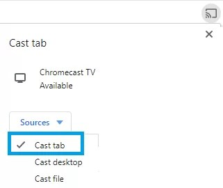 Google Chrome - Cast Tab