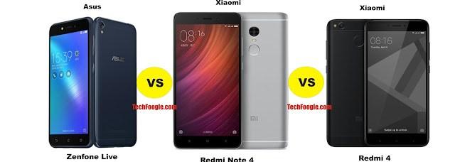 Asus Zenfone Live vs Xiaomi Redmi Note 4 vs Redmi 4