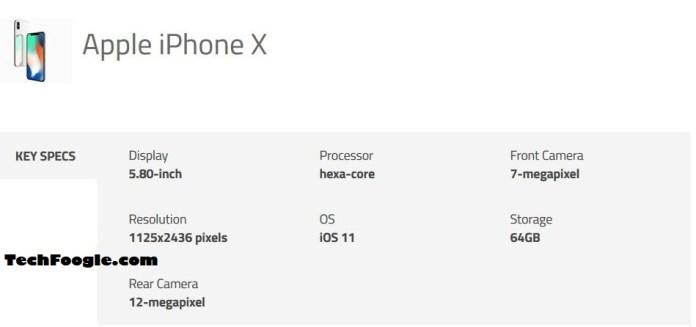official iphone x specs - techfoogle.JPG