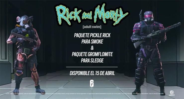 rainbow six siege rick y morty gromflomite sledge pickle smoke colaboración crossover