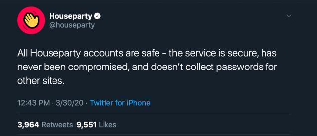 Houseparty Hack tweet