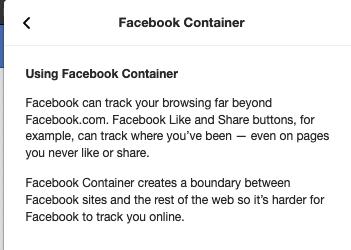 Facebook container FAQ