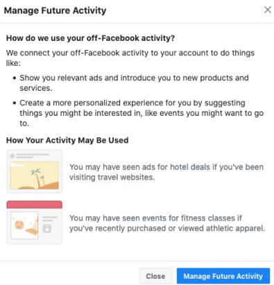 off facebook manage pop up