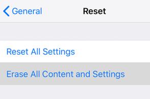 ios Reset screen