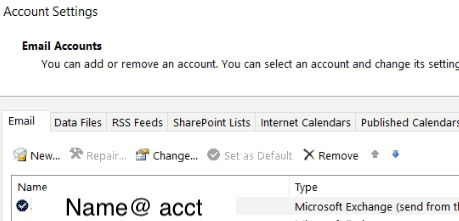 Outlook account list