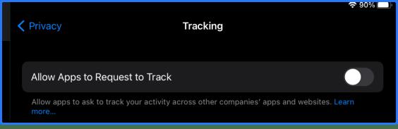 Apple Tracking iOS setting
