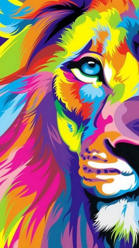 lion colorfull wallpaper