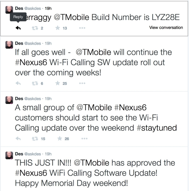 Wifi Calling support for T-Mobile Nexus 6 users