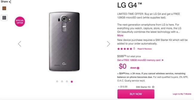 Lg G4 on sale on t mobile