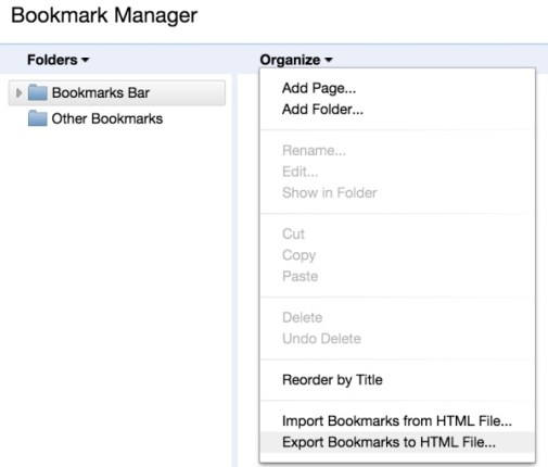 exporting bookmarks from chrome