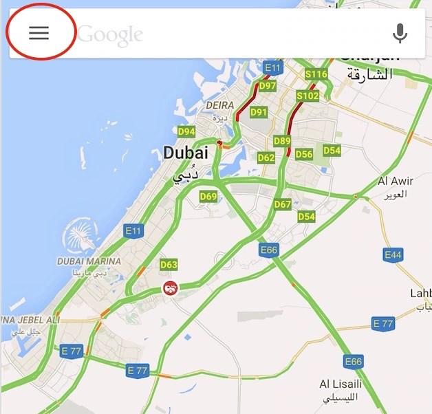Google map menu on iOS