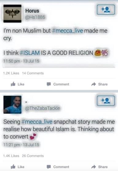 Snapchat's Mecca_Live Tweet
