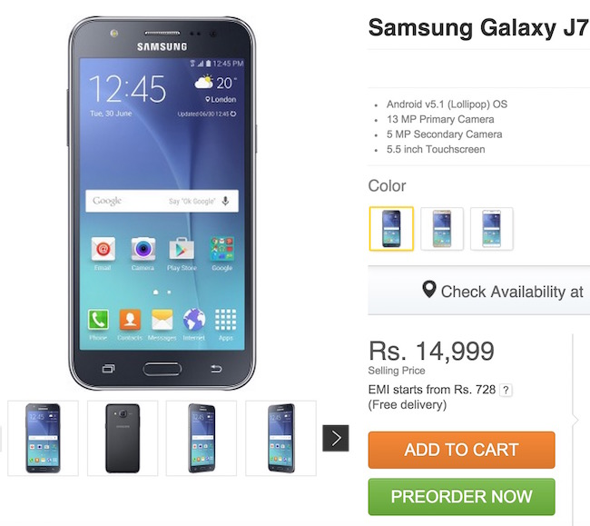 Technical Specifications of Samsung Galaxy  J7
