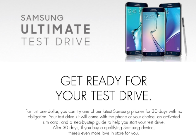 30 days test drive for samsung smartphone for 1 USD