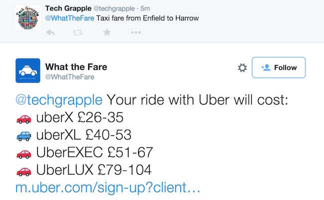 How to estimate Uber Taxi Fare by tweet?