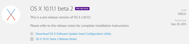 OS X 10.11.1 Beta 2 release