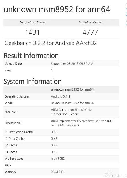 Snapdragon 620 Geekbench 3 Score