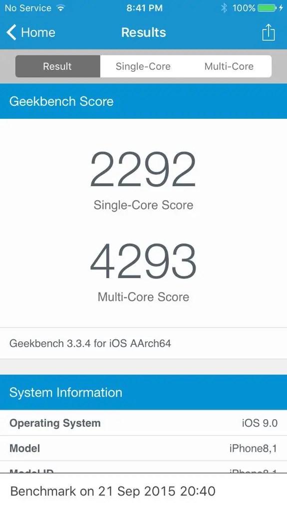 iPhone 6s benchmark
