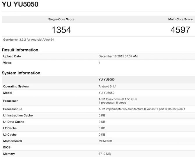 Micromax Yu Yutopia YU5050 geekbench 3 benchmark