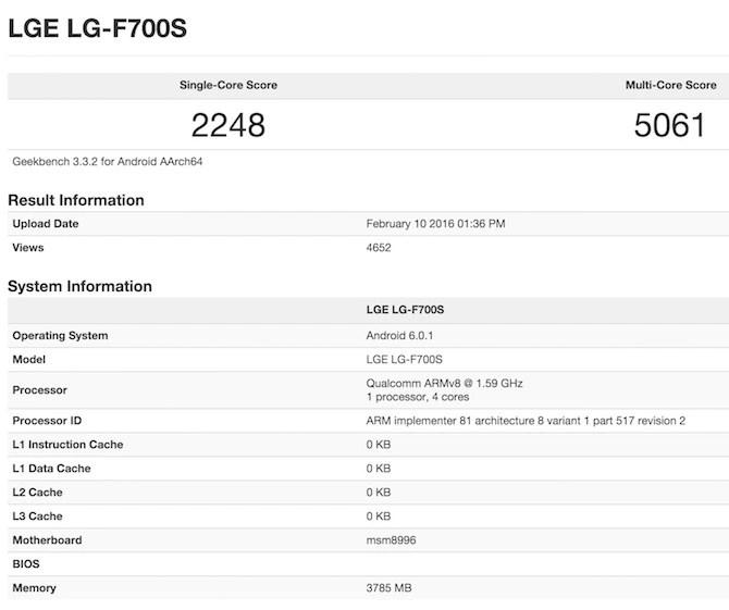 Snapdragon 820 LG G5 GeekBench 3
